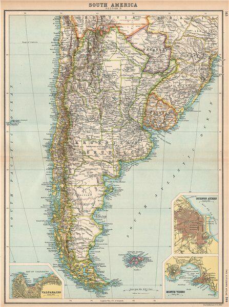 S AMERICA. Argentina Chile Uruguay Paraguay. Buenos Aires; Valparaiso 1912 map