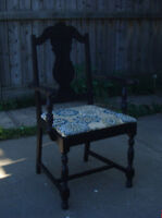 ANTIQUE ORNATE ACCENT CHAIR BLACK with AQUA SEAT - STURDY