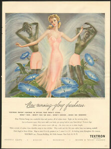 1948 full-page, color authentic print ad for Textron Lingerie