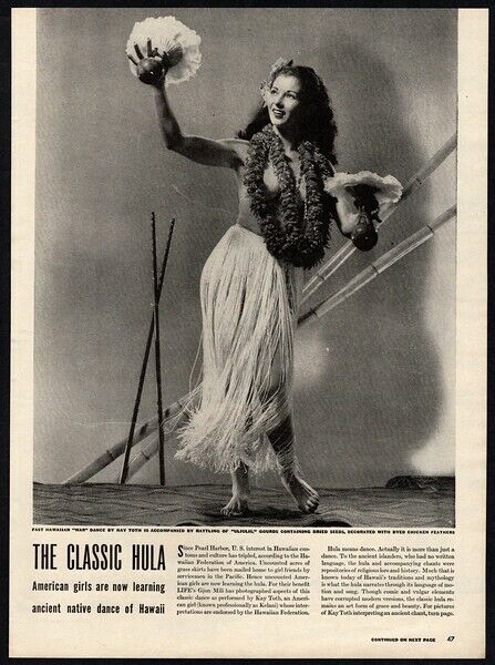 1944 THE CLASSIC HULA Hawaiian Dance - Sexy Hula Girl - VINTAGE 3 Page ARTICLE