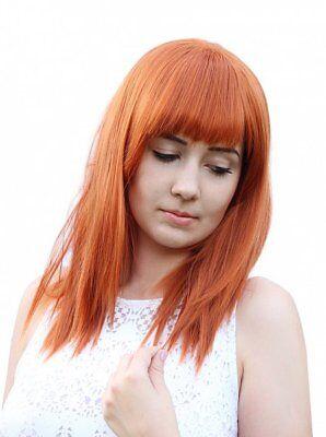glatte mittellange Perücke Kupferrot orange Pony leicht gestuft - Rot Orange Perücke
