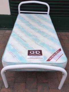 Excellent white metal frame single bed with mattress for sale