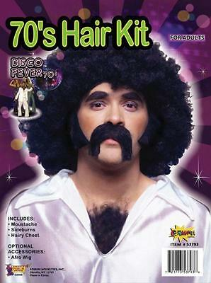 BLACK MOUSTACHE SIDE BURNS CHEST HAIR DISCO KIT COSTUME DRESS FM53793  (Chest Hair Costume)