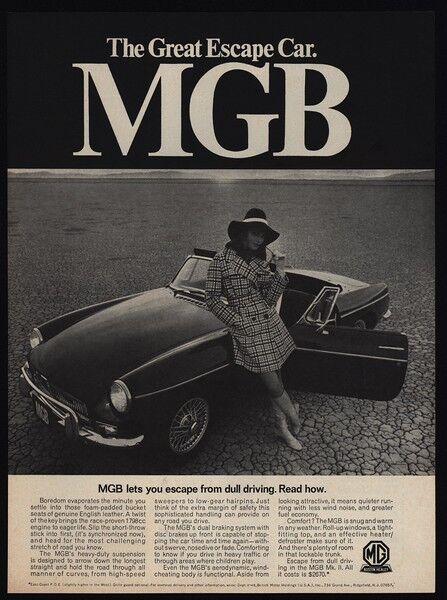 1968 MGB Convertible Sports Car - MKII - Pretty Woman - Great Escape VINTAGE AD