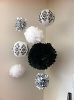 Black and White wedding, shower or birthday decorations
