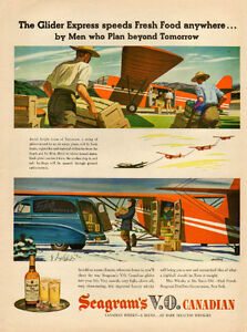 1946 full-page magazine ad for Seagram's V.O. w glider