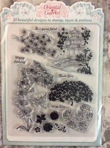 Oriental Garden Rubber Stamps Set - New in Package