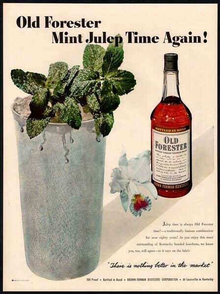 1950 OLD FORESTER Whiskey - Cocktail - Mint Julep - Bourbon VINTAGE AD