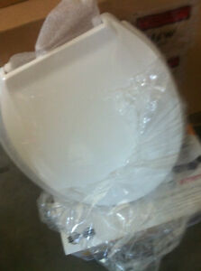 NEW- UNSEALED- 2 1/2 inch rise ROUND MEDICAL WHITE TOILET SEAT