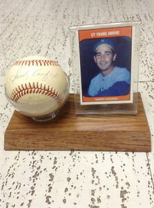 Autographed Baseball of Sandy Koufax in Display with Card