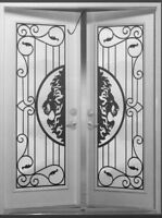 DOOR GLASS INSERTS WROUGHT IRON & STAINED