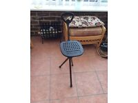 Walking stick seat and golf brolley