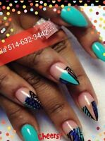 SPECIAL POSE D'ONGLES 25$RESINE,ACRYLIC,GEL,SHELLAC PEDICURE