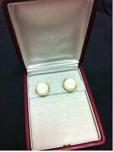 GEORGJENSEN EARRINGS SOLID GOLD mother of pearl EAR RING 1960-70 Melville Melville Area Preview