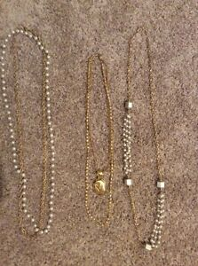 Faux pearl and gold costume jewellery set