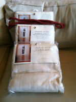 CURTAINS/RIDEAUX: 3 WINDOW PANELS & 2 TIE BACK STRINGS - ALL NEW