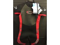 TWF 2.5mm kids Shortie Wetsuits swim suit - Red/BLACK BRAND NEW TAGS