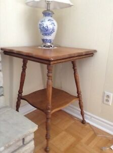 Antique Solid Oak  Two Tier Lamp Table/Side Table