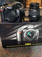 Nikon D60 with 18-55mm zoom lens. PERFECT CONDITION