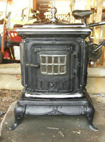 Cast Iron Parlour Wood Stove, with a 2 burner cook top