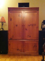 Solid pine entertainment cabinet