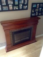 Large electric fireplace with low profile