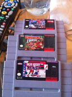 donkey kong coutry, stree fighter 2 et Nhlpa hockey SNES