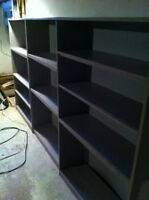 SET OF 3 GREY BOOK SHELVES