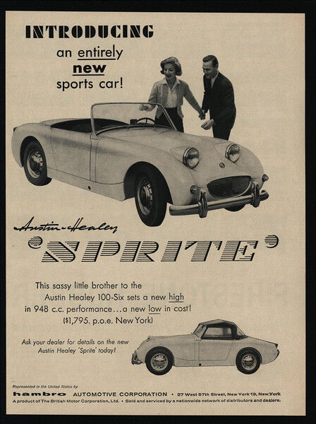 1958 AUSTIN-HEALEY Sprite Convertible Sports Car - Entirely New - VINTAGE AD