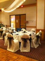 Ivory Chair Covers and black sashes