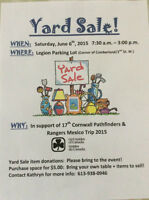 Yard Sale Fundraiser for the 17th Cornwall Pathfinders & Rangers