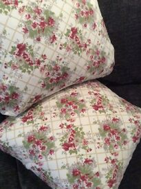 """1 pair of cushions size 20""""x 20"""" made from Laura Ashley reclaimed vintage fabric."""