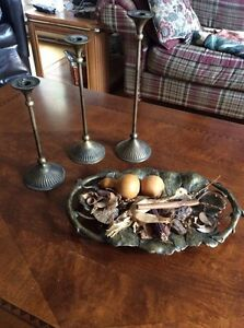 Solid brass dish with 3 candle holders