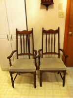 dining room chairs, high back, grey padded seats