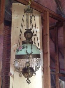 Victorian hanging parlour oil lamp