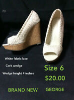 Brand New George white lace wedges size 6