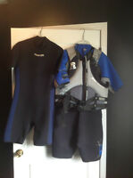Two Wetsuits and life jacket - $100