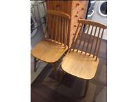 2 retro solid wood danish style chairs