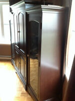 Dark brown TV unit & detachable display cabinets