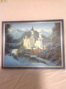 Neuschwanstein Castle Painting and Plaque