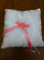 Wedding, Ring Bearer Pillow: white satin w/lace overlay (Janna)