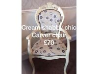 Shabby chic carver chair 😍😍😍😍😍 in cream with lovely fabric and stud work
