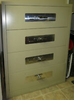 Fire-protected legal-sized 4 drawer lateral file cabinet / safe
