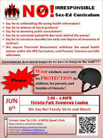 2:00 to 4:00pm, June 6,  Victoria Park Protest No to New Sex-Ed