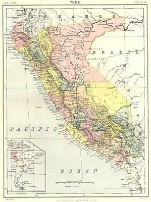 PERU. Inset South America. Britannica 9th edition 1898 old antique map chart