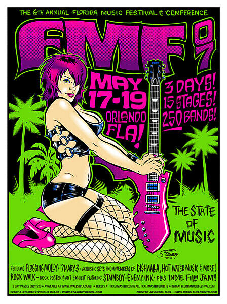 Flogging Molly Concert Poster Florida Music Festival 2007 S/N Greg Stainboy R...