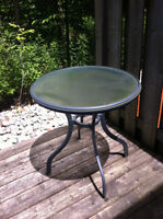 glass round outside table