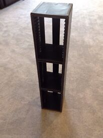 CD rack in brown leather effect stores 45 CDs