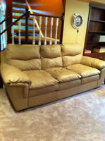 Leather couch, loveseat and chair set. Bone color