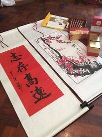 Asian Chopsticks, Tea & decorative scrolls
